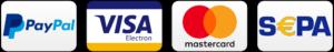 Paypal, Visa, Mastercard, Sepa